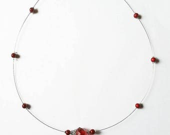 Long necklace mi red and silver