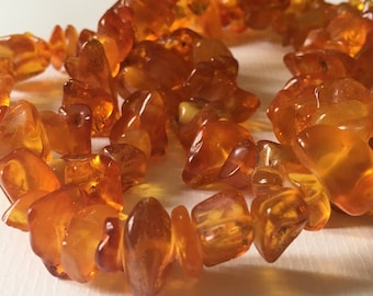 Vintage Polished Genuine Amber Beads Necklace/Baltic Amber/Soviet Vintage/1980s /Hand Made/Lith