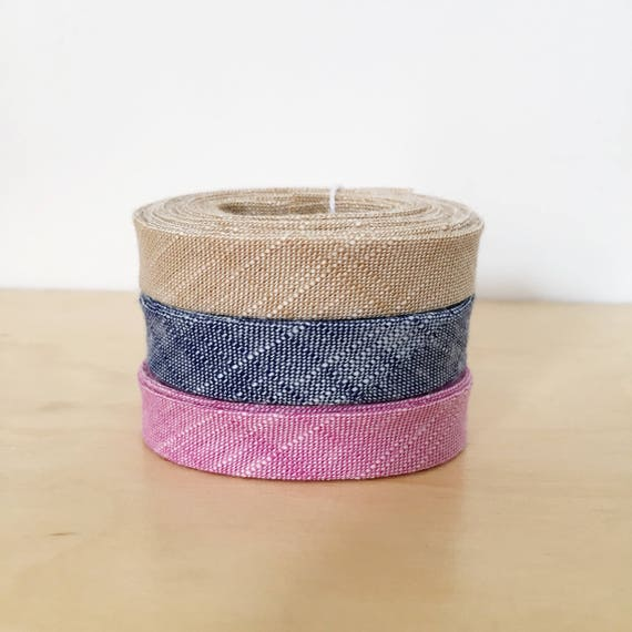 """Bias Tape 1-yard Sampler Pack 1/2"""" double-fold cotton binding- 3 different Manchester Chambray fabrics"""
