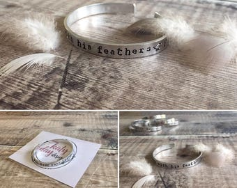Hand Stamped Bible Verse Cuff Bangle 'He Will Cover You With His Feathers' (free gift box with this item)