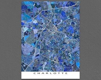 Charlotte Map, Charlotte North Carolina City Maps, Charlotte NC Art Print