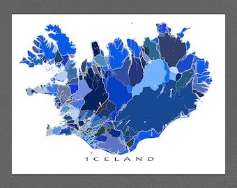 Iceland Map Art Print, Iceland Poster, Reykjavik, Travel Map