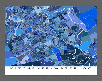 Kitchener Waterloo Map Art Print, Ontario Canada, City Street Maps