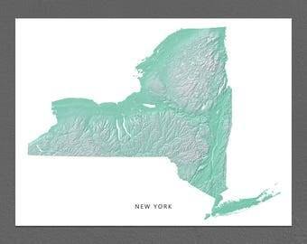 New York Map Print, New York State, Aqua, NY Landscape Art