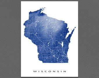 Wisconsin Map Art Print, Wisconsin State Artwork, Milwaukee, WI