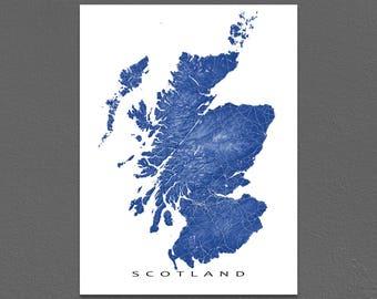 Scotland Map Art, Scotland Print, UK, United Kingdom, Scotland Poster
