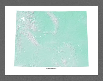 Wyoming Map Print, Wyoming State, Aqua, WY Landscape Art