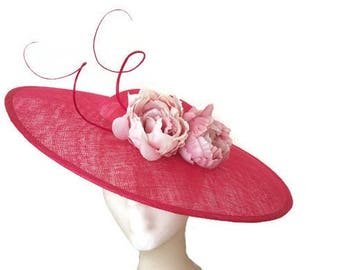 Fuchsia pink derby hat, Pink wedding hat, pink Kentucky derby hat, Pink Ascot hat, kate middleton hat, ladies hats, womens tea party hats