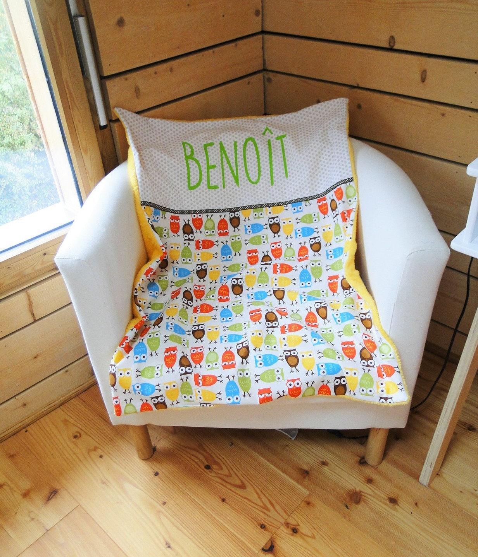 couverture b b hiboux moyenne taille sur commande. Black Bedroom Furniture Sets. Home Design Ideas