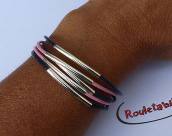 Bracelet silver, blue and pink, silver tubes