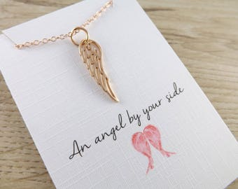 Rose Gold angel wing charm necklace~rose gold necklace~angel jewellery~friendship gift~charm jewellery~charm necklace~angel jewellery