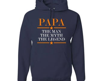PAPA The Man The Myth The Legend Hooded Sweatshirt - Grandpa Sweatshirt - Papa Pullover Sweatshirt - Men's shirt