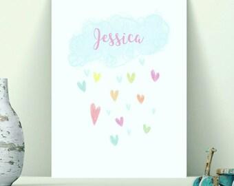 Personalised Cloud Print, Rainbow Rain Cloud Print, Nursery Wall Art Print, New Baby Gift, Weather Print