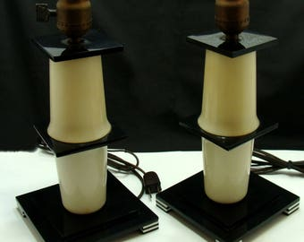Vintage Art deco lamps-old matching deco lamps-stacked lucite lamps-vintage plexiglass lamps-mid century modern lamps-old acrylic lamp pair