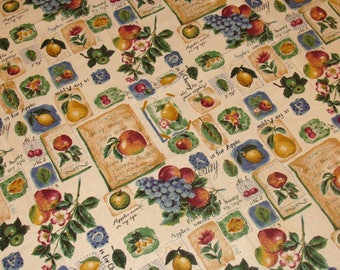 Vintage fruit tablecloth-old garden table cloth-apple tablecloth - square tablecloth-cotton tablecloth-french country kitchen-old farm house