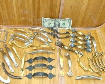Vintage handle lot-old cabinet handles-furniture handle bundle-brass handle-old metal handles-vintage pull handles lot-door handle lot
