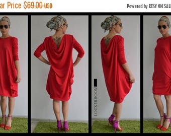ON SALE Maxi top/Loose Casual top /Red ASYMMETRIC Long Sleeves Tunic/Women Red Cotton Asymmetric Top/ woman long top / Plus size tunic/LongT