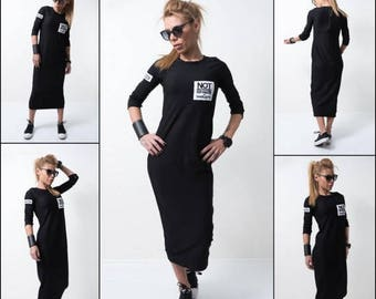 ON SALE Long Black dress/ Extra long tunic / Long sleeves top /Soft innovate dress