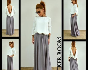 ON SALE Woman gray skirt /Spring Long skirt / High waist maxi skirt/Floor Length Long Skirt /Draping long skirt