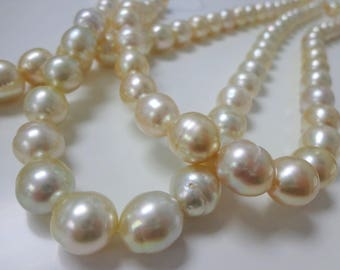 10-12mm Light Golden South Sea Pearl Necklace Strands