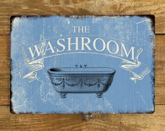 Washroom WC Bathroom Toilet Vintage Metal Wall Sign Plaque - A4 Aluminium plaque- blue Bathtub Door Sign - 200mm x 300mm