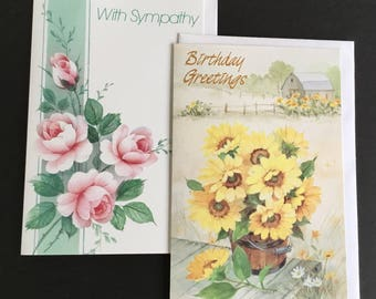 Vintage (Unused)  Fantusy greeting cards, Birthday & sympathy themed, daisies, roses