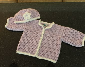 Baby Girl sweater and hat set