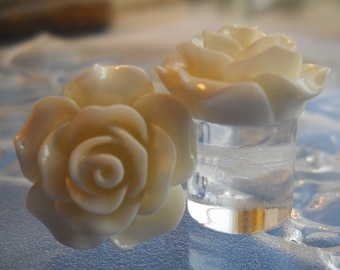 "1/2"" Rose Plug, 13mm Rose Plug, White Rose Plug, Acrylic Plug"