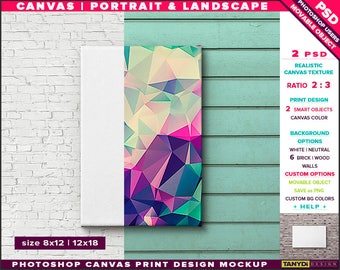 8x12 24x36 Canvas on Wall | Photoshop Print Mockup | Movable Unframed Portrait Landscape | Bricks Wood | Smart object Custom colors
