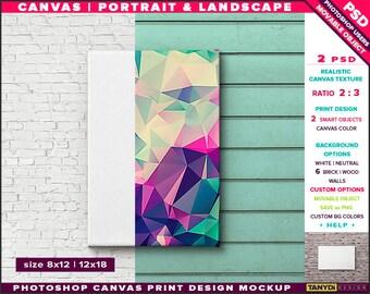 8x12 24x36 Canvas on Wall | Photoshop Print Mockup | Movable Unframed Portrait Landscape | Bricks Wood | Smart object Custom colors