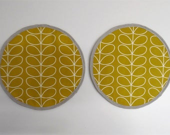Set of 2 Aga lid covers, mats. Orla Kiely  Linear Stem in dandelion. Hanging loop.