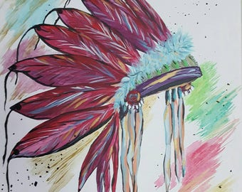 Native American Headdress, Original, acrylic on canvas