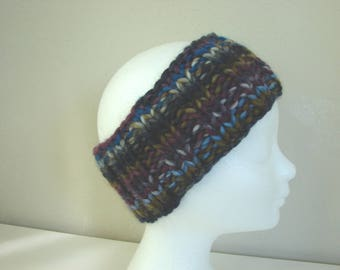 hand knit ear warmer multi colored teen warm winter chunky headband knit in round blue purple headband boy girl teenager chunky ear warmer