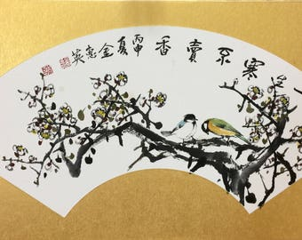 Oriental Literacy Painting - Plum and birds - Japanese Korean Art