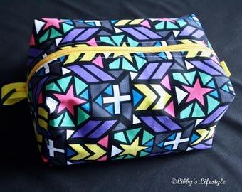 Stars toiletry bag. Handmade. Moisture resistant travel bag. Nappy bag.