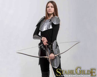 Larp Armor, female armor, Fantasy cosplay armor female armour womens armor Elven Angel of Silence: pauldrons, breast plate, skirt, bracers