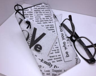Newsprint Sunglasses Case, Glasses Case, Fabric Eyeglass Pouch, Zip Top Eyeglass Case, Sunglass Case