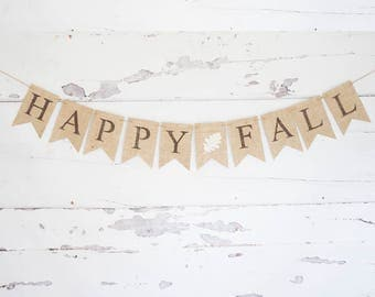 Fall Decor, Fall Banner, Happy Fall Burlap Banner, Fall Decoration, Fall Photo Prop, Fall Sign, Fall Door Decor, Autumn Garland, B897