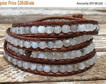 SUMMER SALE Gray Chan Luu Style Wrap Bracelet / Healing Crystal Bracelet / Chan Luu Bracelet / Chakra Bracelet