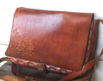 vintage 1970 borsa pelle leather bag (H.62)