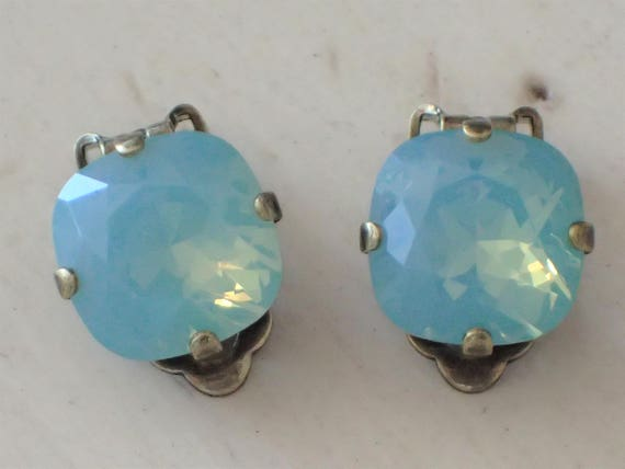 Pacific Opal Crystal Clip On Earrings, Antique Brass