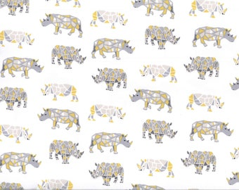 White rhino thick JERSEY fabric gray and yellow