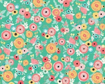 1 Yard Just Sayin' by Jen Allyson of My Minds Eye for Riley Blake Designs -6891 Mint Floral
