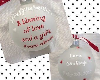 Personalized Godparents Christmas Ornaments| Godparent Ornament | Godparent Gift | Gifts for Godparents | Godparent Keepsake