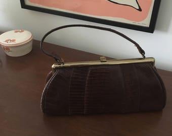 Vintage 1950s Brown Aligator Handbag