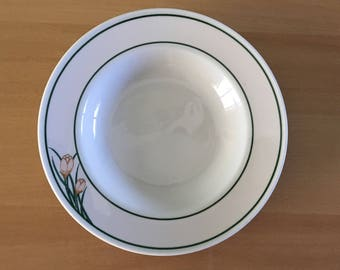 Vintage Mayer China restaurant ware creamy white soup / salad bowls circa 1950s Beaver Falls, PA with Art Deco peach tulips & green rings!