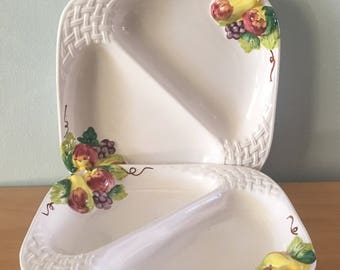 Sweet vintage pair of Himark Japan white divided platters with raised autumn fruit / pear apple grape & basketweave for Farmhouse kitchen!