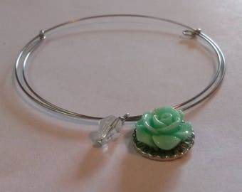 Mint green flower charm with clear bead adjustable memory coil bracelet