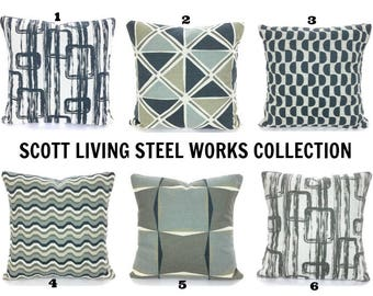Scott Living Fabric Designer Pillow Covers Decorative Throw Pillows Cushions Gray Tan Dark Blueish Charcoal Taupe Light Gray on Natural