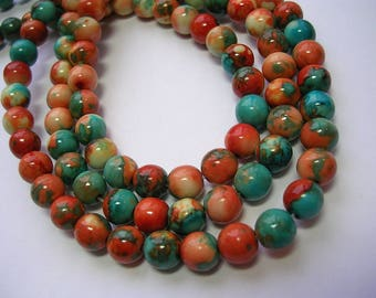 6mm Turquoise, Rust and Cream Beads Ocean Jade Stone Beads 62 Pieces 6mm Round Stone Beads 6mm Jade 15 Inch Strand Polished